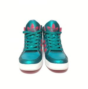 adidas Shoes - Adidas Hightop Pink and Teal Sneakers Size 8